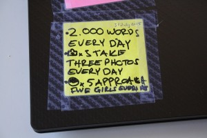 Notepad with text:30 day challenge! Write 2000 words, take 3 pictures for my blog and approach 5 girls every day.