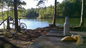 Picture of my bike by the lake with meal