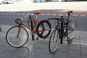 Picture of two fixie bikes