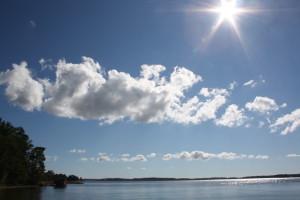 Sun rays over occean
